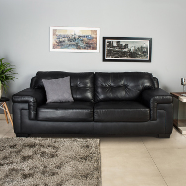 Akron Faux Leather Sofa -3 Seater Black