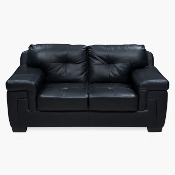 Akron Faux Leather Sofa -2 Seater Black