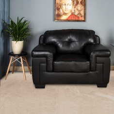 Akron Faux Leather Sofa -1 Seater Black