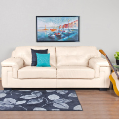 Akron Faux Leather Sofa -3 Seater Beige