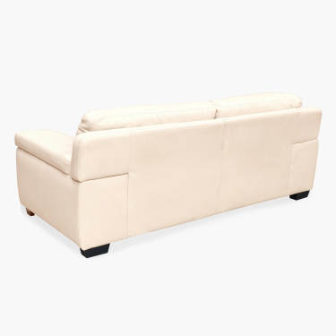 Akron Faux Leather Sofa -3 Seater - Beige