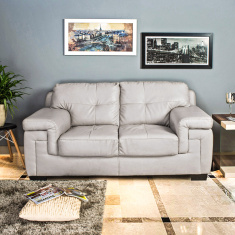 Akron Faux Leather Sofa -2 Seater Beige