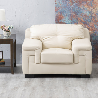 Akron Faux Leather Sofa -1 Seater Beige