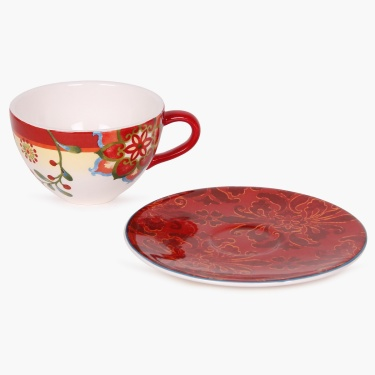 Carolina Porcelain Printed Cup And Saucer Set - 300 ml