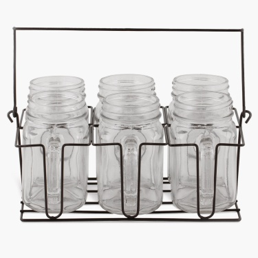 Peroni Mason Mugs With Caddy- Set Of 7 Pcs. - 420 ml