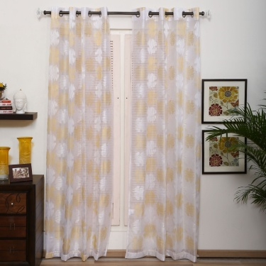 Matrix Crystal Embellished Sheer Door Curtain - Set Of 2