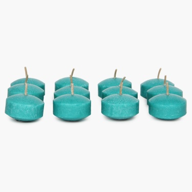 Redolance Ocean Blue Floating Candle- Set Of 12 - 4 CM