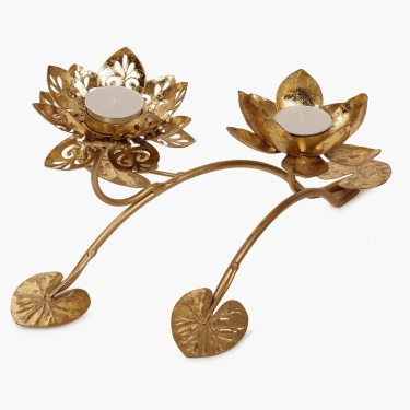 Majestic Lotus Tealight Stand- Set Of 2
