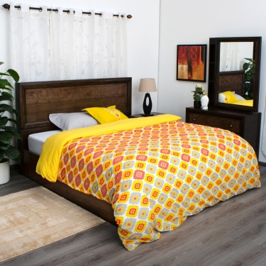Mandarin Soliel Printed Double Bed Duvet Cover - 228 X 274 CM