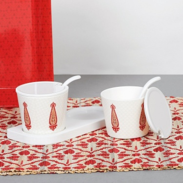 India Modern Condiment Set With Stand- Set Of 2
