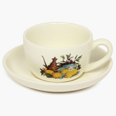 Cranberry Printed Cup And Saucer Set