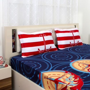 PORTICO ELDORA Nautical Print 3-Pc. Super King Size Bedsheet Set - 274 x 274 cm