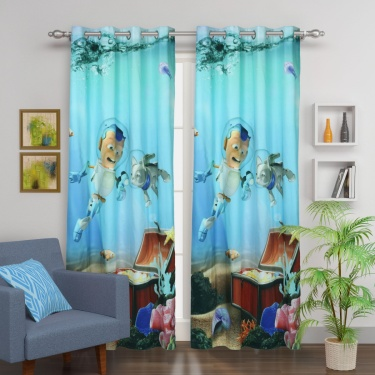 Kids Adventures of U-tron Opaque Door Curtain