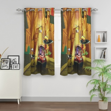 Kids City Goes Wild Toon Car Printed Single Window Curtain