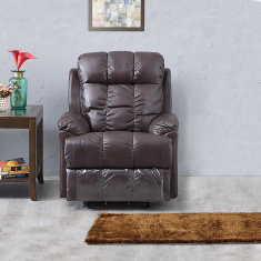 Baines Faux Leather Rocking Recliner -1 Seater Dark Brown