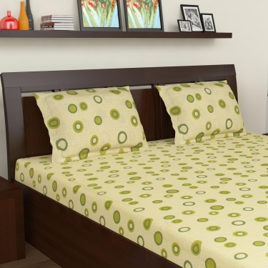 MASPAR Polka Print Cotton Double Bedsheet Set- Set Of 3 Pcs.