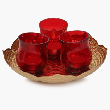 Majestic Pooja Platter With 3 Votive Holder