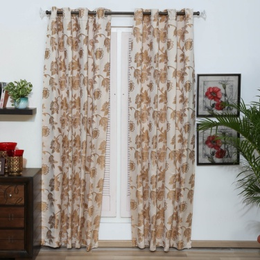 Matrix Floral Opaque Door Curtain-Set Of 2