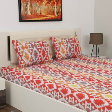 Mandarin Kennedy Printed Double Bedsheet Set