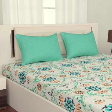 D'DECOR Blue Radiance 3-Pc. Double Bedsheet Set - 254 x 274 cm