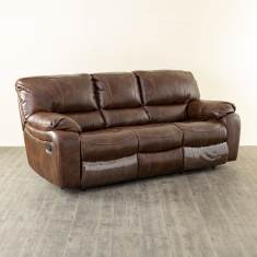 Apollo Faux Leather Recliner-3 Seater Brown