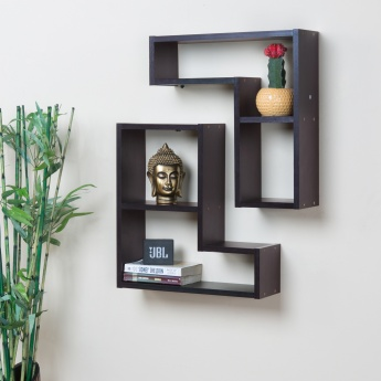 Inset Wall Shelf Set - 2pcs. Brown