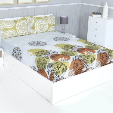 SPACES Intensity Cotton Double Bedsheet & Pillow Covers Set