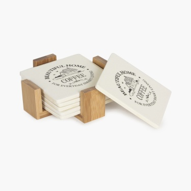 Beautiful Home Ceramic Coaster With Bamboo Tray - Set Of 6