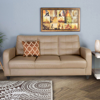 Montoya Half Leather Sofa - 3 Seater Beige