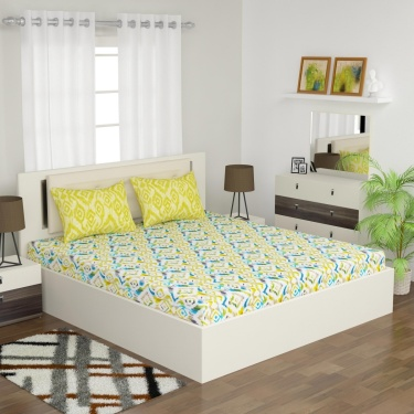 D DECOR Elemental Double Bedsheet Set-3 Pcs.