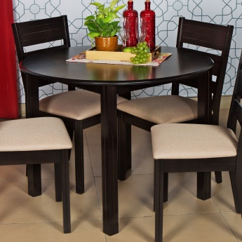 montoya round dining table without chairs 4 seater brown compressed wood. Black Bedroom Furniture Sets. Home Design Ideas