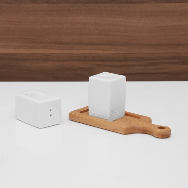 Sagano Porcelain Salt & Pepper Shaker With Bamboo Tray