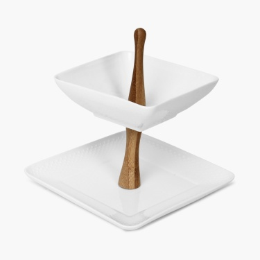Sagano Two Tier Bowl And Plate Stand