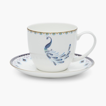 Camilo Printed Round Bone China Cup And Saucer- Set Of 8 Pcs.