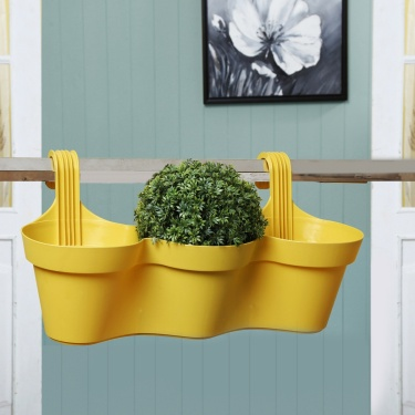 Madison Magnolia Plastic Balcony Railing Planter With Three Segments