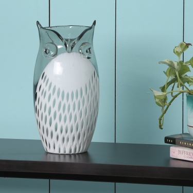 Splendid Glass Owl Vase- 15x30 cm.