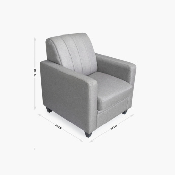 Alaska Arden Fabric Sofa -1 Seater Grey