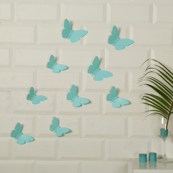 Fabulous Three Butterfly Wall Decals- Set Of 9 Pcs.