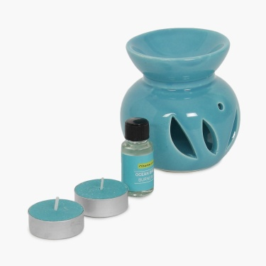 Serene Ocean Breeze Fragrance Oil Burner Set