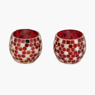 Galaxy Bloom Mosaic Votive Holder - Set Of 2