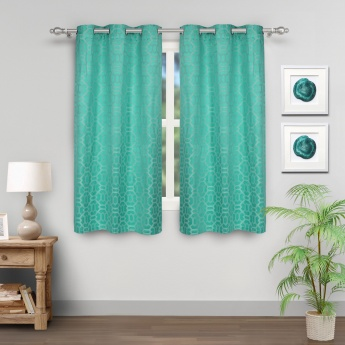 Jade Jacquard Design Window Curtains- Set Of 2 Pcs.