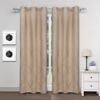 Jade Jacquard Design Door Curtains- Set Of 2 Pcs.
