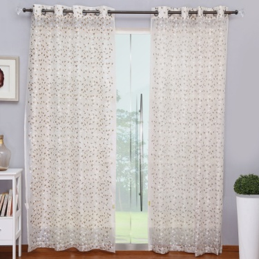 Matrix Crystal Semi-Sheer Embroidered Door Curtain Pair - 225 X 135 cm