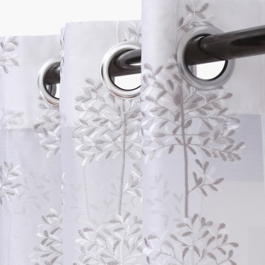 Matrix Crystal Sheer Embroidered Door Curtain Set-2pcs