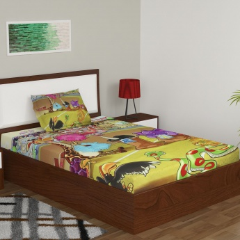 City Goes Wild Printed Bedsheet Set- 1+1 Pcs.