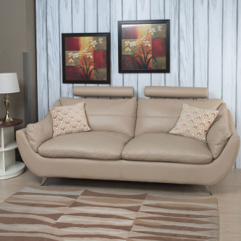 Brookfield Half Leather Sofa- 3 Seater Beige