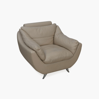 Brookfield Half Leather Sofa- 1 Seater Beige