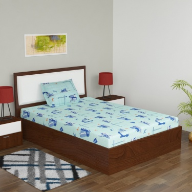 Adventures Of U-Tron Rotary Printed Single Bed Sheet Set- 2 Pcs.
