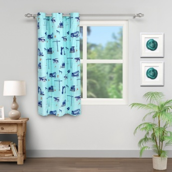 Adventures of U-Tron Construction Rotary Printed Window Curtain