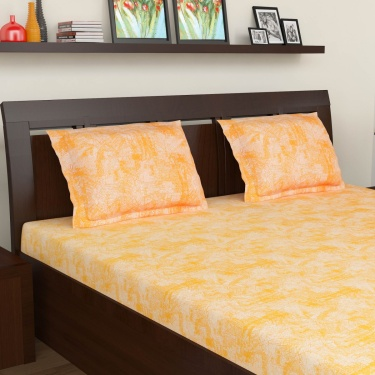 MASPAR Printed Cotton Double Bedsheet Set- Set Of 3 Pcs.